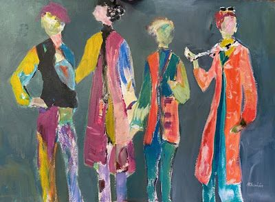 "Contemporary Expressionist Figurative Fine Art Painting, ""THE BRUNCH BUNCH"
