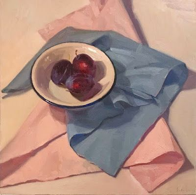 Plums on Pink and Blue