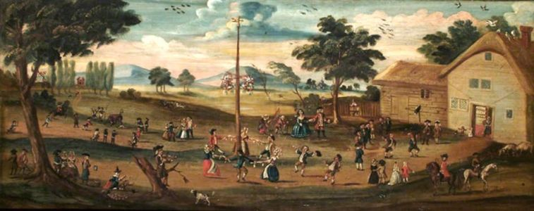 17C MAY DAY celebration with a Maypole at Weybridge near London