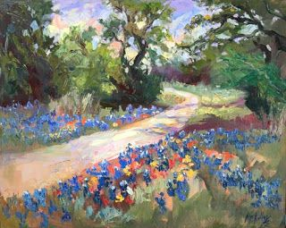 """Texas Trails"" Bluebonnet Oil Painting by Contemporary Impressionist Niki Gulley"