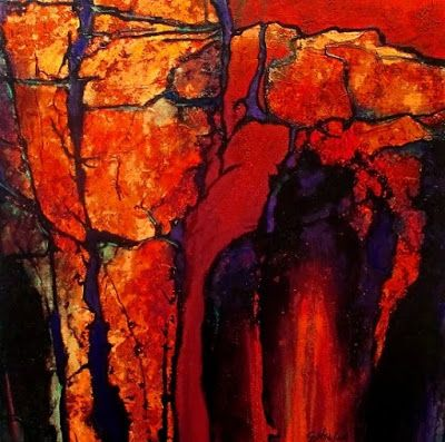 """Geologic Abstract Art Painting """"Red Passage"""" by Colorado Mixed Media Abstract Artist Carol Nelson"""