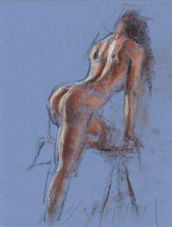 Leaning female nude study back side