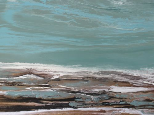 """Abstract Seascape, Beach Art Painting """"The Arrival VI"""" by Colorado Contemporary Artist Kimberly Conrad"""