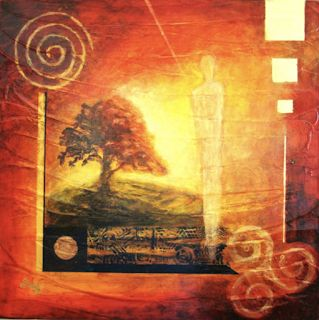 "Contemporary Abstract Landscape Art, Mixed Media Tree, ""Golden Light"" by Contemporary Arizona Artist Pat Stacy"