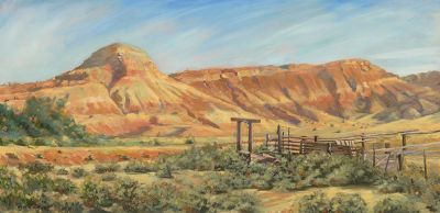 "Original Colorado Landscape Oil Painting, Western Landscape ""The Old Loading Dock"" by Colorado Artist Nancee Jean Busse, Painter of the American West"