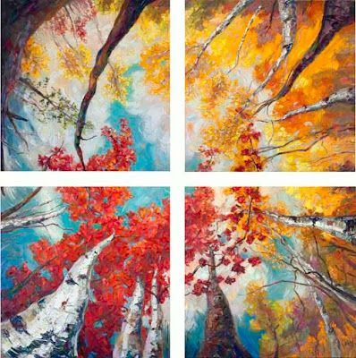 """Soaring Dreams"" Quadriptych Palette Knife Oil Painting by Niki Gulley"