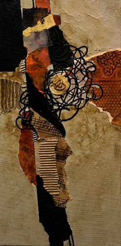 """Mixed Media Abstract Painting """"Hill Country"""" by Colorado Mixed Media Artist Carol Nelson"""
