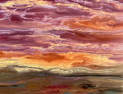 "Abstract Landscape,Sunset Art Painting ""Harmonious Reflections V"" by Colorado Contemporary Artist Kimberly Conrad"