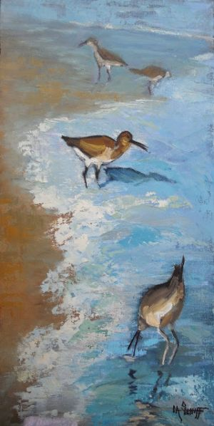 Wildlife Painting, Nature Artwork, Coastal Art, Daily Painting, Small Oil Painting, 8x16x1.5