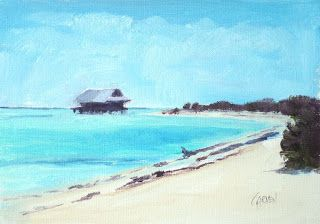 Water House II, Original Oil on Canvas Seascape North Captiva Island Florida