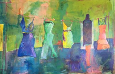 """Contemporary Fine Art Painting,Clothes Line """"Just Hanging Out"""" by Oklahoma Artist Nancy Junkin"""