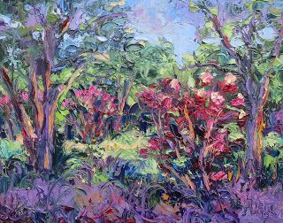 Crazy for Crape Myrtles, New Contemporary Landscape Painting by Sheri Jones