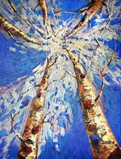 Winter Aspen Tree Palette Knife Painting by Niki Gulley