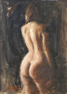 """Amber"" female nude back 5×7 painting"