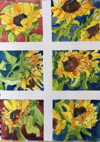 """Day 259 """"Sunflowers - Six Views"""" 12 x 9 ink & watercolor"""