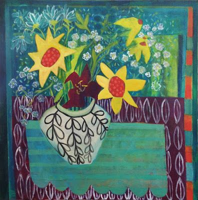 "Contemporary Abstract Still Life Flower Art Painting ""Summer Sunflowers"" by Santa Fe Artist Annie O'Brien Gonzales"