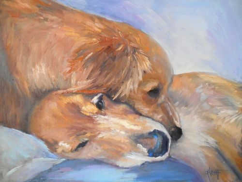 Dog Painting, Pet Portrait, Small Oil Painting, Daily Painting
