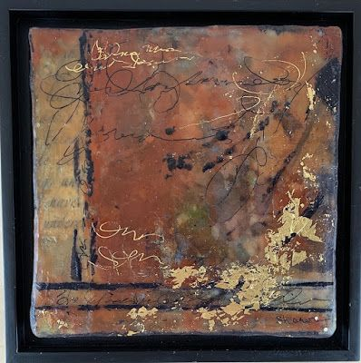 "Encaustic Abstract Art, Mixed Media, Contemporary Painting, ""Winter's Edge"" by Texas Contemporary Artist Sharon Whisnand"