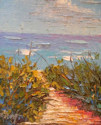 A Beach Day Palette Knife Oil Painting, Daily Painting, Small Oil Painting, Textured Landscape Artwork, Beach House Decor