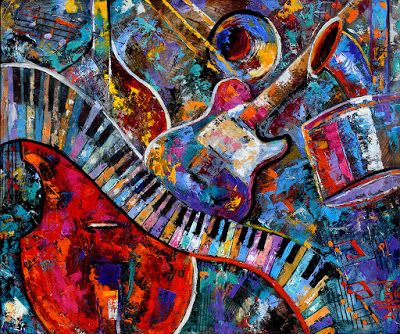 "Abstract Music Painting Art Musical Instruments Paintings Colorful Jazz ""Make Music"" by Debra Hurd"