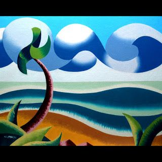 Mark Webster - Abstract Geometric Ocean Coast Landscape Oil Painting