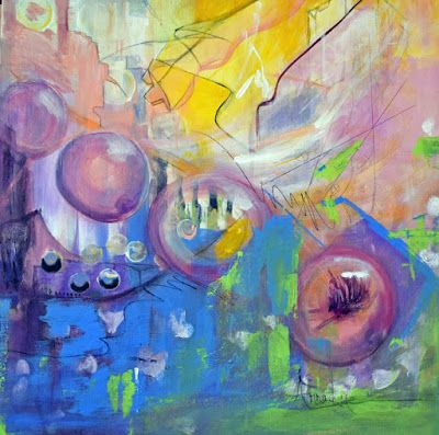 """Contemporary Abstract Expressionism Painting """"Qualia Playful Sequence"""" Compass Series by International Abstract Realism Artist Arrachme"""