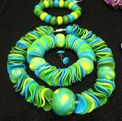 "Polymer Clay Jewelry,Choker, Earrings, Bracelet ""LAND & WATER -Set"" by Colorado Artist and Designer Gerri Caplin"