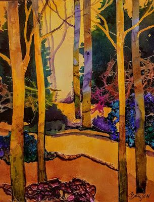 "Abstract Landscape, Trees, Mixed Media, ""Golden Path"" by Colorado Mixed Media Artist Carol Nelson"