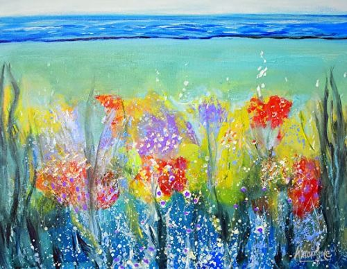 """Fluid Contemporary Seascape Art Painting """"Just Be Still"""" by Contemporary International Artist Arrachme"""