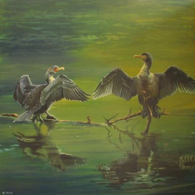 "Original Wildlife, Bird, Landscape Painting ""Cormorants, Drying Their Wings on the Madison River"" by Western Landscape Painter Nancee Jean Busse"