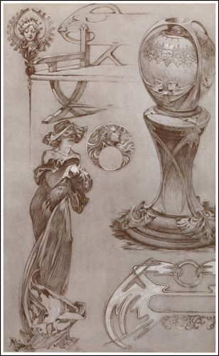 Some Alphonse Mucha Drawings