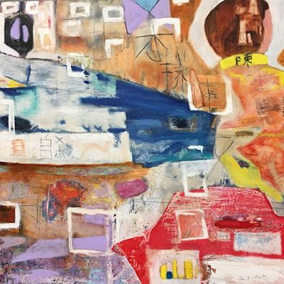"""Contemporary Art, Abstract,Expressionism, Studio 9 Fine Art """"Mr. Chan's Watch"""" by International Abstract Artist Amanda Saint Claire"""