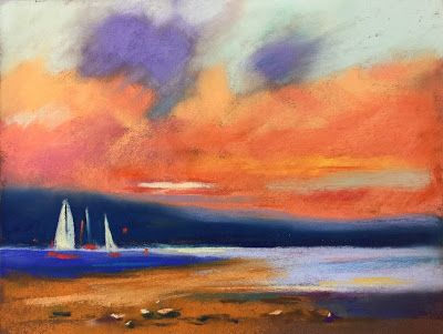 "Contemporary Beach Scene with Sailboats, ""Sail Away,"" by Amy Whitehouse"