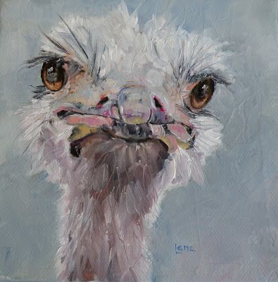 """SAY WHAT?"" - AN OSTRICH! © SAUNDRA LANE FINE ART"