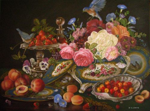 Bountiful Table large 30x40 old world classical still life oil painting Bluebirds Sevres porcelain tureen silver fruit peonies flowers