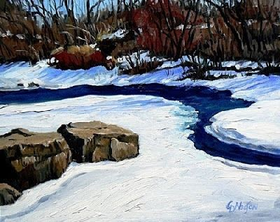 "Impressionist Landscape Painting, Colorado Landscape ""CLEAR CREEK IN JANUARY"" by Colorado Artist Carol Nelson"