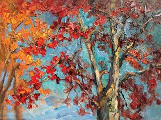 Maple Treetops Palette Knife Painting by Contemporary Impressionist Niki Gulley
