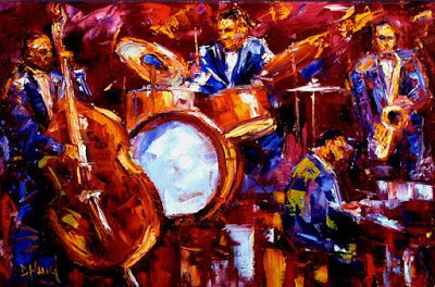 "Abstract Impressionist Art, Jazz Musicians, ""Jazz Impressions "" by Debra Hurd"