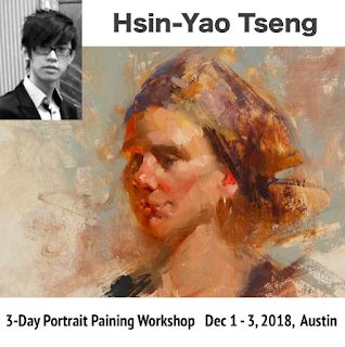 New workshop announcement: Hsin-Yao Tseng, 3-Day Portrait Painting