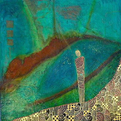 "Original Contemporary Painting, Abstract Figure, Mixed Media Art ""The Observer"" Painting by Contemporary Arizona Artist Pat Stacy"