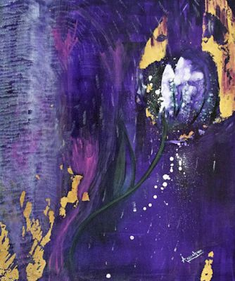 """Abstract Environmental Art , Purple Flower Painting """"Beauty Junkie"""" by International Abstract Realism Artist Arrachme"""