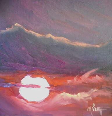 Red Sky Painting, Sunset Painting, Small Oil Painting, Daily Painting, 8x8x1.5