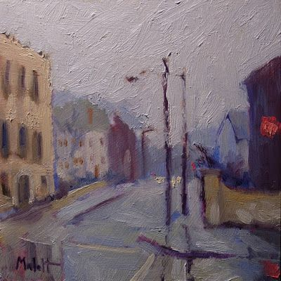 Rainy Urban Landscape Original Oil Painting and Prints Heidi Malott