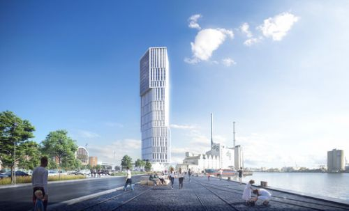 "C.F. Møller Architects Reveal Images of ""Sculptural Landmark"" Tower at the Port of Aarhus"