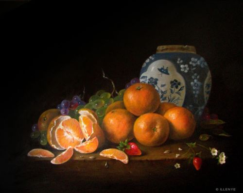 Peeled Oranges on Rustic Ledge with Oriental Ginger Jar classical still life oil painting