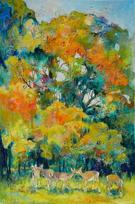 """Contemporary Colorful Landscape,Wildlife, Deer Painting, Mixed Media, """"Food is Provided"""" By Passionate Purposeful Painter Holly Hunter Berry"""