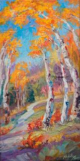 """New """"Perspective Control"""" Fall Aspen Painting by Niki Gulley"""