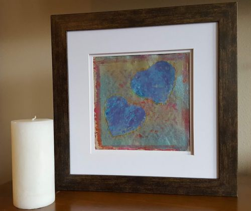 Hearts in Blue Hand Print Acrylics by Denise Bossarte