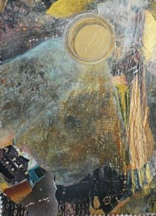 "Contemporary Abstract Art Painting, Mixed Media Collage ""Psyche"" by New Orleans Artist Lou Jordan"