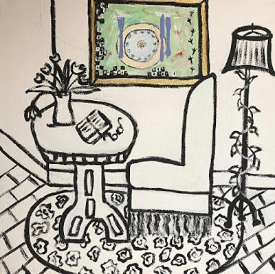 "Interior View Painting, Still Life, Folk Art, Narrative Art Painting, ""Painting my Painting"" Narrative Art by Santa Fe Artist Judi Goolsby"